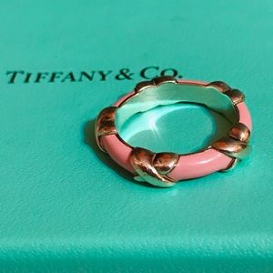 Tiffany & Co pink enamel X sterling silver ring